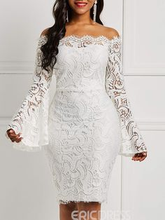 Silhouette: Bodycon Dress Length: Knee-Length Sleeve Length: Long Sleeve Sleeve Type: Flare Sleeve Neckline: Off. African Wear Dresses, Latest African Fashion Dresses, Dress Fashion, Fashion Vest, Fashion Fall, Womens Fashion, Latest Fashion, Fashion Trends, Lace Gown Styles