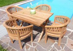 Nice Rustikale Super Edle TEAK Gartengarnitur Gartenset Gartenm bel Sessel COCO Tisch RIO Holz Bild