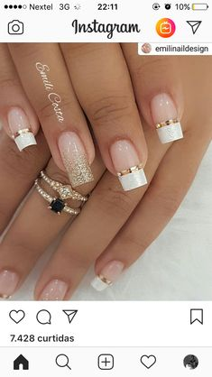 100 Gorgeous Wedding Nail Art Ideas For Your Big Day Wedding Nails ongles Perfect Nails, Gorgeous Nails, Pretty Nails, Beautiful Rings, Winter Nail Designs, Nail Art Designs, French Nail Designs, French Manicure With Design, White Tip Nail Designs