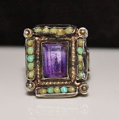 Vintage 1950's MATL Matilde Poulat Mexican Sterling Turquoise Amethyst Ring #MATL