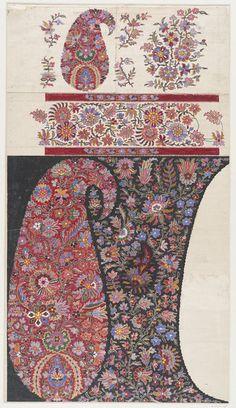 Design for a Paisley shawl Paisley Art, Paisley Fabric, Paisley Design, Paisley Pattern, Kashmiri Shawls, Border Embroidery Designs, Art Deco Pattern, Mandala, Shawl Patterns