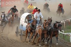 Chuck wagon races at the Calgary Stampede. When you go stand beside the fence it sounds like thunder! We love you, Calgary! Chrysler Building, Vancouver, Cheyenne Frontier Days, Road Trip, Into The West, Chuck Wagon, Belle Villa, Canada Day, Canadian Rockies