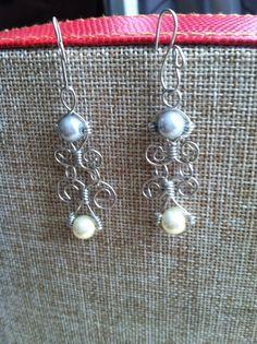Silver and Black wired hoop earrings by SoooEmi on Etsy, $4.00 ...