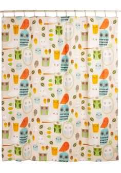 For the kid's bathroom! Shower Power Shower Curtain in Owl Clean - Multi, Dorm Decor, Owls, Cotton, Best Seller, Best Seller, Mid-Century, Top Rated
