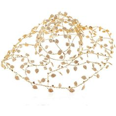 Vittorio Ceccoli Women Leafs Gold Plated Wire Hat ($2,205) ❤ liked on Polyvore featuring accessories, hats, black and white hat, leaf hat and adjustable hats