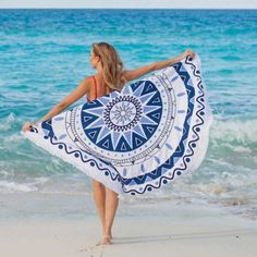 Blue Star Mandala Beach Blanket Yoga Tapestry