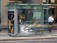 Strongbow Shatterd Bus Shelter