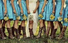 Camouflage and Teal Wedding with Sunflowers | Teal Bridesmaids Dresses, Cowboy Boots, and Sunflowers!