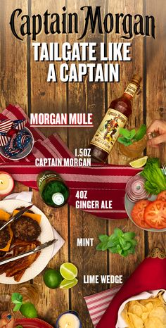 Take tailgating into overtime this fall with a delicious cocktail from Captain Morgan. To fix yourself a Morgan Mule, muddle lime in the bottom of a tankard. Add ice, 1 part Captain Morgan Original Spiced Rum and 2 parts ginger ale. Garnish with mint sprig and lime wheel, stir, and enjoy! For those keeping score at home: 1 part = 1.5 oz. And remember–a Captain knows his limits. Please enjoy your tailgate responsibly.