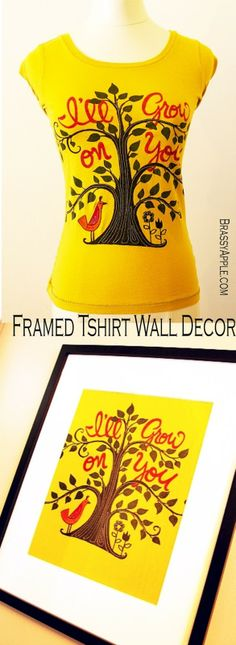 Upcycling an old graphic t into wall art is a great and cheap way to decorate your walls // @Laura Brassington Apple: Tshirt Refashion Wall Decor - Frame IT!
