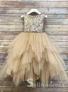 Gold Flower Girl Dresses, Dress Flower, Tulle Dress, Tulle Tutu, Flower Girls, Girls Gold Dress, Gatsby Flower Girl Dress, Flower Girl Tutu, Rose Gold Sequin Top