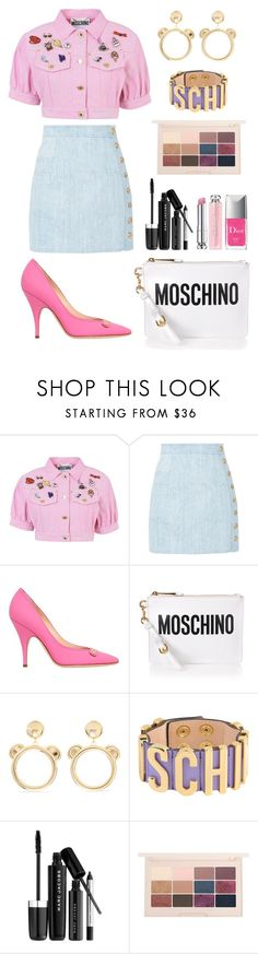 """""""Moschino Blazer"""" by alcdance1 ❤ liked on Polyvore featuring Moschino, Balmain, Marc Jacobs and Christian Dior"""