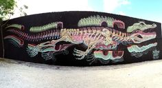 Dissection Of An Alligator, street art mural by Nychos.