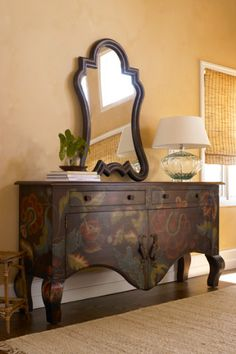 Athalia Sideboard - French Country, Mahogany, Handpainted Flowers, Acanthus Hardware, Brassürosette Knobs | Soft Surroundings