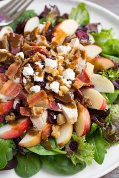 Chicken Apple Bacon Walnut Salad with Balsamic Vinaigrette from Cooking Classy