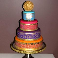 Bollywood/Moroccan 4 tier with flower ball Indian Cake, Indian Wedding Cakes, Amazing Wedding Cakes, Indian Party, Amazing Cakes, Moroccan Party, Moroccan Wedding, Moroccan Henna, Moroccan Theme