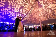 One of the wedding tent designs Pinterest has made quite famous!  A really nice job uplighting a tent with realistic leaf gobos.