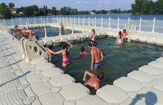 Swimming Pools and Platforms River Bath, Floating Dock, Swimming Pools, Public, Landscape, Platforms, Baths, Outdoor Decor, Fun