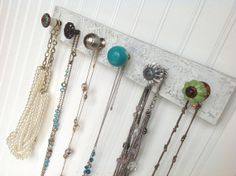 Jewelry Rack Blues and Greens Hanging Accessory by sweetsadiek, $36.50