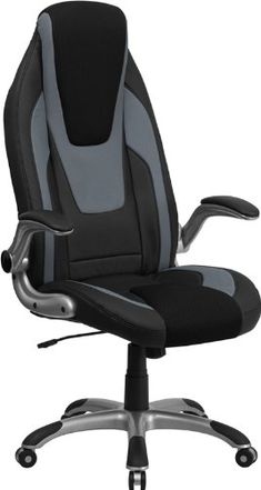 Flash Furniture CH-CX0326H02-GG High Back Black/Gray Vinyl Executive Office Chair with Black Mesh Insets/Flip Up Arms Flash Furniture - $166