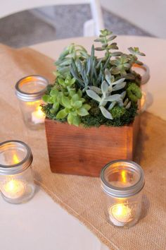 succulents and moss in wooden box with burlap runner and tealights in mason jars