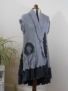 Upcycled Grey Waistcoat / Recycled Sweater by Tailortrash on Etsy Recycled Sweaters, Sweater Refashion, Altered Couture, Fashion Collage, Altering Clothes, Tee Dress, Cotton Sweater, Bohemian Style, Beautiful Outfits