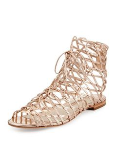 Dephine Lace-Up Flat Gladiator Sandal, Gold by Sophia Webster at Neiman Marcus.