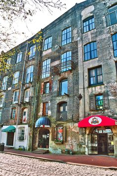 Shops on River Street in Savannah Georgia! We always stop in the candy store and get a candy apple!