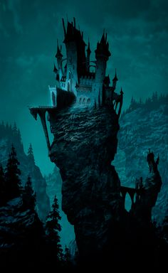 Luc Desmarchelier  I love spooky images.  Keeping to a single colour works well for this image. The dark base draws the eye up the tower to the castle.
