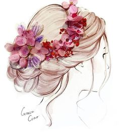 70 Trendy Ideas For Design Illustration Fashion Grace Ciao Grace Ciao, Hair Illustration, Illustration Fashion, Fashion Illustrations, Girly Drawings, Arte Floral, Anime Art Girl, Flower Petals, Flowers In Hair