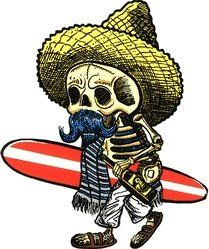 Kruse El Borracho Surfer Sticker by Poster Pop. Mexican Day of the Dead Posada Skeleton Surfer with Sombrero, Surfboard, and Serape. Tattoos For Women Half Sleeve, Sleeve Tattoos, Surfer Tattoo, Mexican Skeleton, Ed Roth Art, Horror Movie T Shirts, Surf Stickers, Ink Gallery, Mexican Tattoo