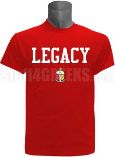 "Red Kappa Alpha Psi screen printed t-shirt with the word ""Legacy"" above the crest. $34.00"