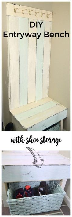 Learn how to make this Pallet Wood Entryway Bench to hold coats and shoes in your entryway.