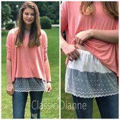 Shirt Extender Off White Dotted Lace