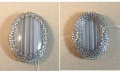 Step by step instructions on how to stitch a cabochon with anopen back using peyote (I've tried this and find it a lot harder than stitching with a covered back)