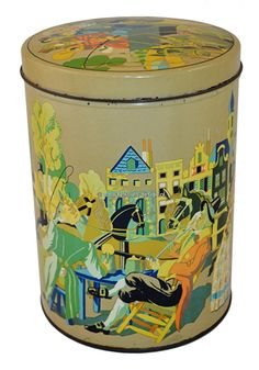 Vintage big nostalgic tin with romantic images Nostalgic tin with romantic pictures. A beauty! This is a big tin with beautiful drawings from Romanticism. Includes images of unloading a carriage or rather a diligenge. Furthermore, a pipe-smoking gentleman wobbling on his stool. This tin is a spectacle... see: http://www.retro-en-design.co.uk/a-44265421/tins/vintage-big-nostalgic-tin-with-romantic-images/