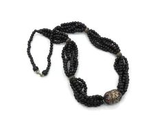 Beaded Tribal necklace   Black glass Afghan BIG by InVintageHeaven, $35.00