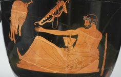Greek, Attic, attributed to the Berlin Painter, Red-figure bell-krater: Side A depicting Herakles at a symposium. ca. 500-490 B.C. Ceramic. Paris, Louvre Museum, Department of Greek, Etruscan, and Roman Antiquities (G174) © Princeton University Art Museum