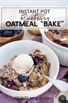 Instant Pot Blueberry Oatmeal is a healthy breakfast you'll look forward to! So warm and creamy almost custard like. Easy quick breakfast for the Instant Pot. Instant Pot Oatmeal Recipe, Baked Oatmeal Recipes, Healthy Baked Oatmeal, Blueberry Oatmeal, Blueberry Breakfast, Breakfast Smoothies, Instant Pot Dinner Recipes, Healthy Baking, Healthy Food