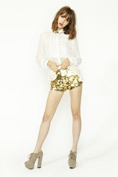 sparkly shorts and a seethrough shirt!/ TRY IT!!