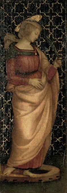 Raffaello-santa Caterina d'Alessandria,olio su tela,Galleria Nazionale delle Marche,Urbino L'opera , olio su tavola, di 39 x 15 cm,faceva originariamente parte di un trittico, realizzato tra il 1500 e il 1503, probabilmente con funzione di piccolo altare destinato alla devozione privata e composto da una seconda tavola di simili dimensioni raffigurante Santa Maria Maddalena. Al centro delle due sante doveva forse trovarsi un'immagine perduta della Vergine con il bambino o della Sacra…