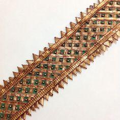 Green and Gold Gota Patti  Sari Border  Gota Ribbon by DesiFabrics, $4.00