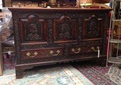 £395 Beautiful Carved Oak Coffer