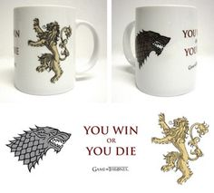 "Taza Stark / Lannister ""You win or you die"" - Blanca - #JuegoDeTronos #GameOfThrones"