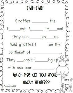 FREEBIE!  Zoo unit   Day 1 Giraffes
