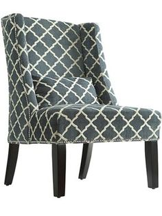 Teal Patterned Wing Back Chair