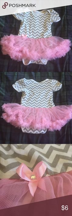 Tutu Onsie Tutu Onesie.  White and grey chevron onesie with pink tutu and cute little bow accent. 9months. Dresses
