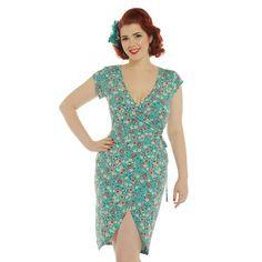 'Becca' Turquoise Fan Print Wrap Dress