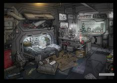 hacker's hide out, michel voogt on ArtStation at https://www.artstation.com/artwork/hacker-s-hide-out