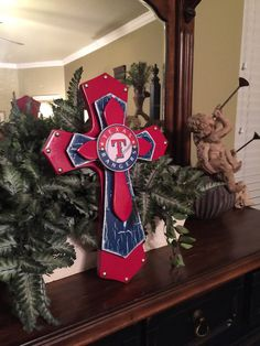 Texas Rangers Theme Wood Cross Large Wood by SignsBYDebbieHess